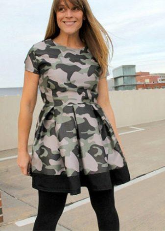 Камуфляжное платье с пышной юбкой