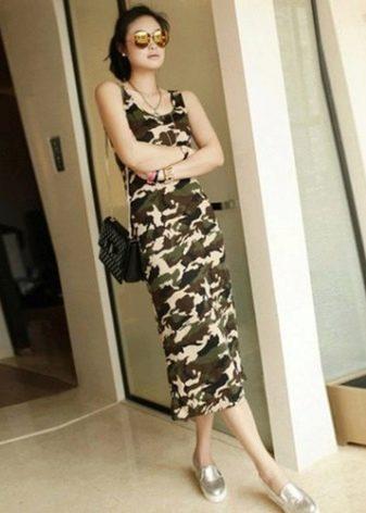 Камуфляжное платье со слиперами серебристого цвета