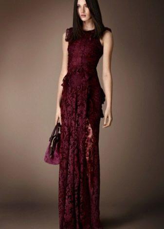 Бордовое платье кружевное в пол