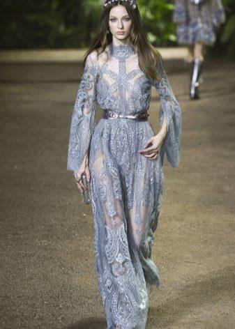 Elie Saab весна-лето 2016  синее платье в пол