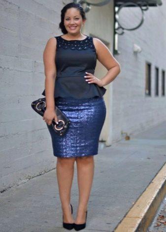 Офисное платье синего цвета (топ и юбка из разных тканей) для полных