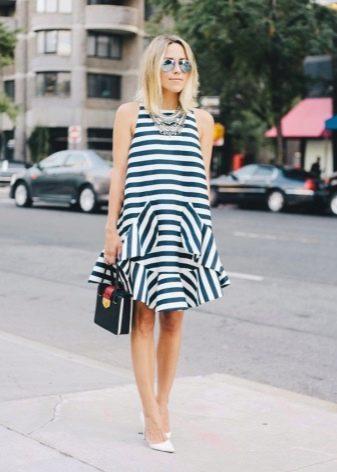Полосатое платье из полиэстера