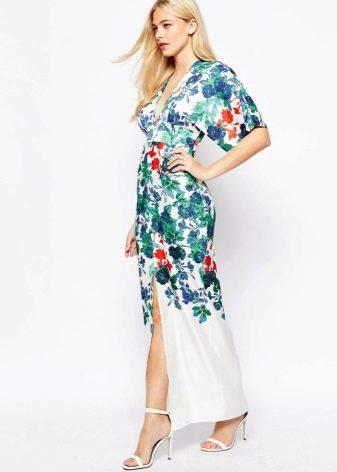 Платье кимоно с цветочным принтом