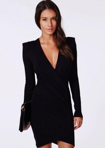 Платье с запахом с длинным рукавом