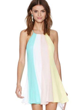 Белое платье-трапеция с бирюзовым, бежевым и желтым