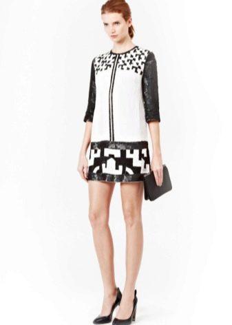 Платье-туника черно-белое