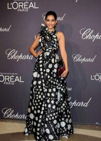 3a78e967b8d Черное длинное платье в крупный и мелкий белый горошек