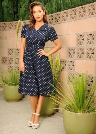 bf35ef30564 Синее офисное платье в мелкий белый горошек