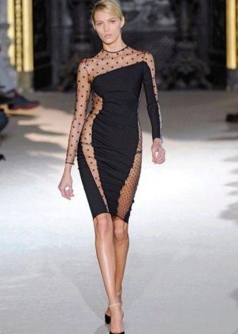 Черное вечернее платье-чулок в черный горошек