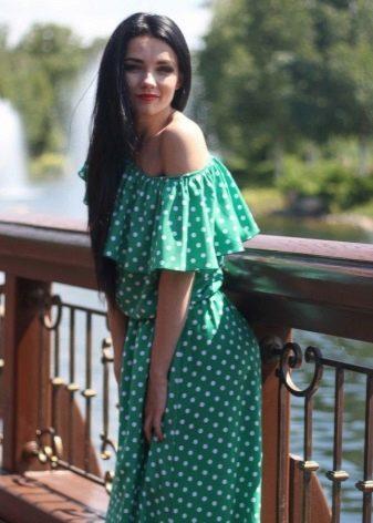 Зеленое платье в белый гороошек для девушек