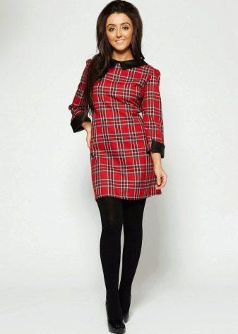 Платье в красную шотландскую клетку (тартан)