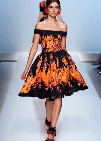 Черно-желтое платье в стиле стиляг