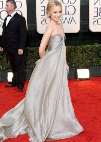Серое шелковое длинное платье с завышенной талией