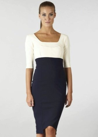 Двухцветное платье с завышенной талией - офисный вариант