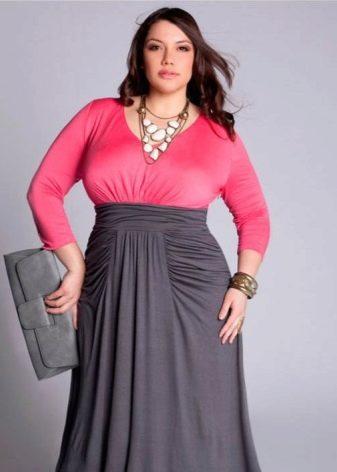 Платье  в пол с топом розового цвета с длинным рукавом и юбкой серого цвета для полных