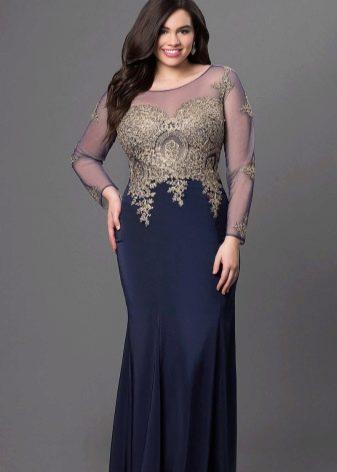 Длинное двухцветное платье для полных с золотистым топом с длинным рукавом и юбкой синего цвета