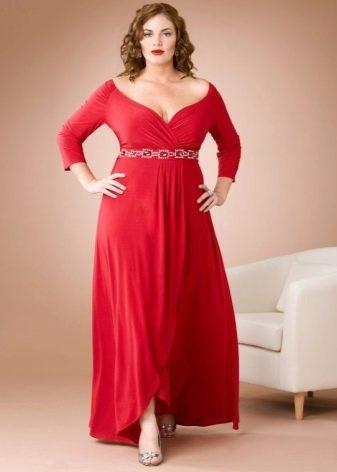 Летнее красное в пол платье с ассиметричной юбкой и длинным рукавом для полных
