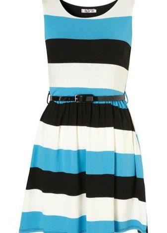 Платье в широкие голубую, черную и белую полоски