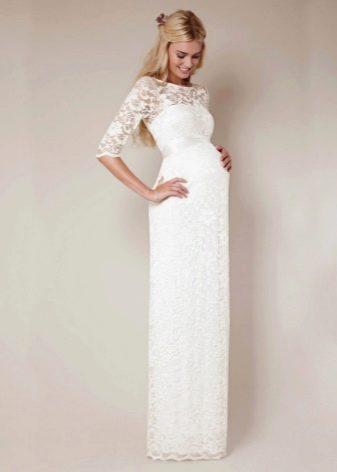 Длинное свадебное платье футляр для беременных