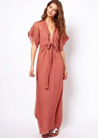 Длинное домашнее платье с коротким рукавом