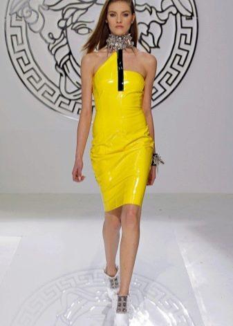 Кожаное платье желтое
