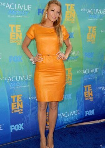 Кожаное платье оранжевое