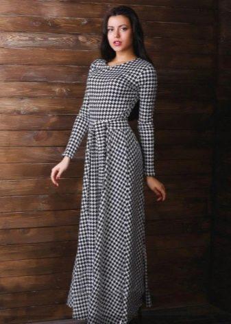 Длинное платье гусиные лапки с поясом