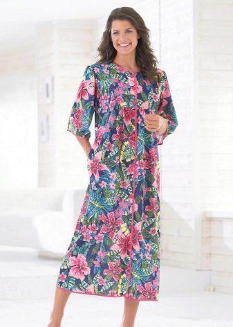 Длинное домашнее платье-халат