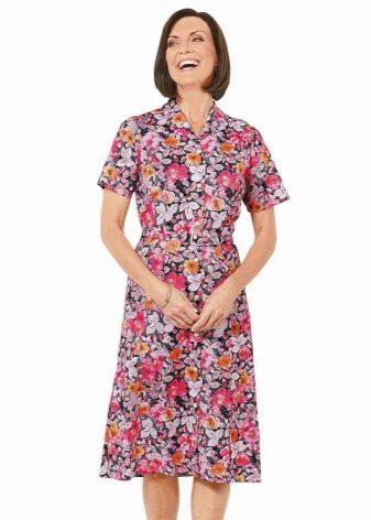 Домашнее платье-халат средней длины