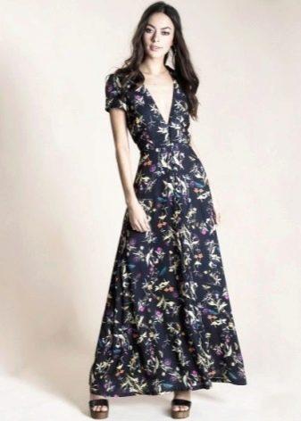 Длинное платье-халат с цветочным принтом