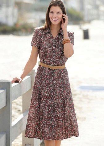 Платье-халат с абстрактным принтом
