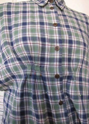 Приталивание рубашки для платья