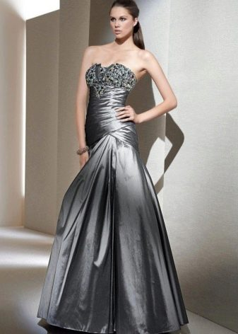 Вечернее платье-бюстье с заниженной талией