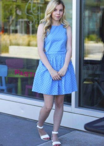 Голубое платье-сарафан для полных девушек