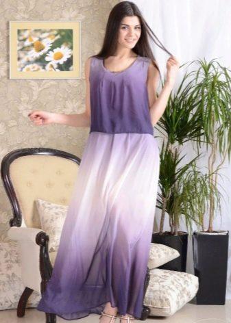 Длинное платье-сарафан градиентной расцветки