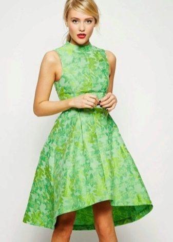 Зеленое платье с принтом в стиле 60-х