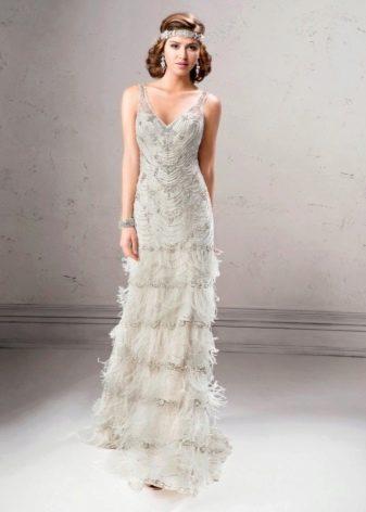 Платье  в стиле ретро белое с бахрамой