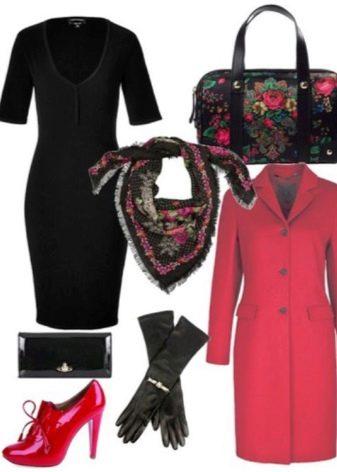 Павлопасадский платок у черному платью