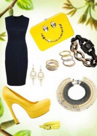 Желтые аксессуары к черному платью-футляру