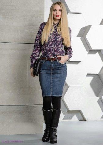 джинсовая юбка карандаш в зимнем гардеробе