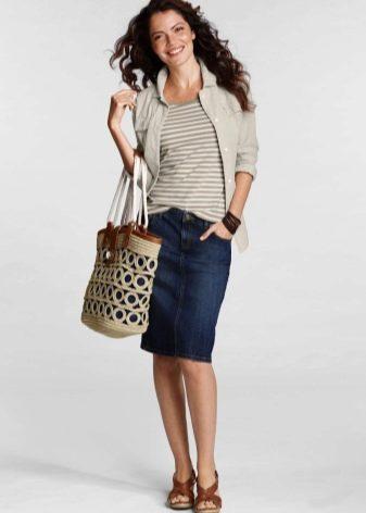 джинсовая юбка карандаш с аксессуарами
