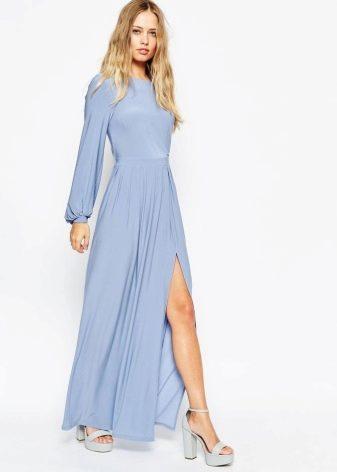 Длина голубого платья в пол
