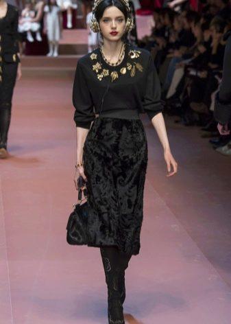 Модное бархатное платье сезона осень-зима 2016 года