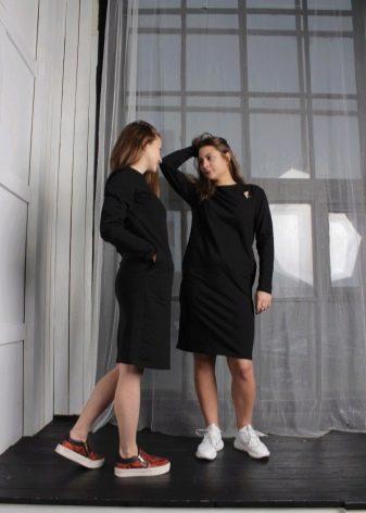 платье из тонкого черного футера