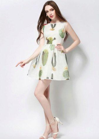 Короткое платье для подростков с кактусами