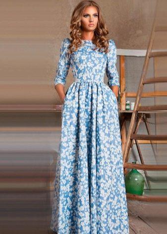 голубое платье в русском стиле