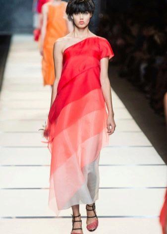 платье из органзы с градиентными переходами цвета