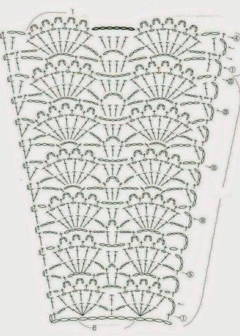 Узор юбки к платью вязаному крючком для крещения