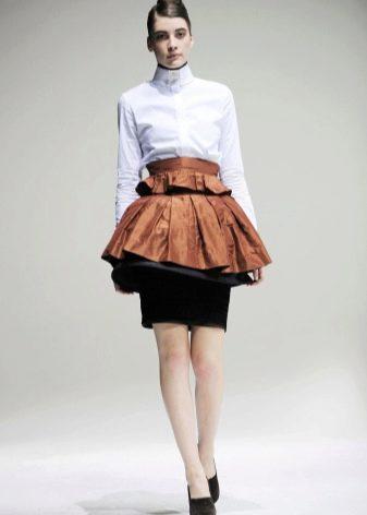 двуцветная юбка с воланом на талии