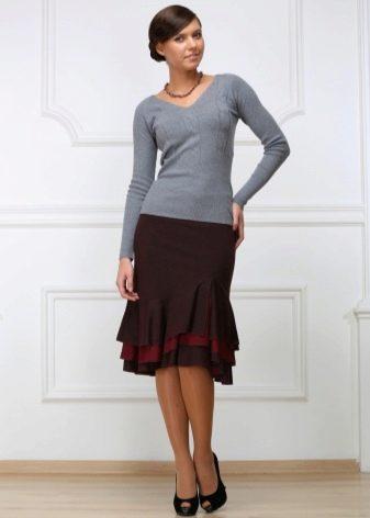 юбка-карандаш с воланами разного цвета